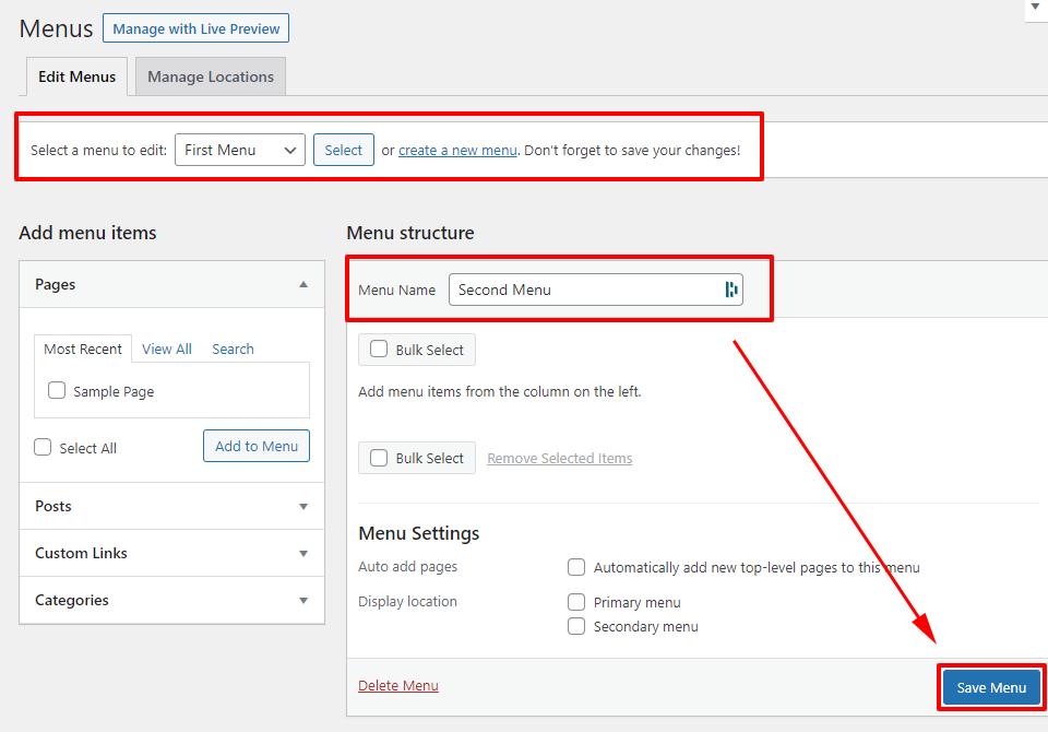 How to Add or Edit Menus in WordPress 2